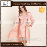 Fancy solid color silk pajama for women, 2-piece set