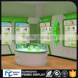 Top level customized MDF wood plywood cosmetic/jewelry display showcase cabinet for shop interior design retail store