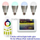 2.4Ghz Wireless RGB White / Warm White 9W LED Bulb Light ,wifi control for Iphone Ipad Android system