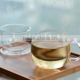 300ml double wall glass drinking tea cup/custom glassware manufacturer glass cup with infuser and lid