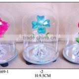 Hand Painted Glass Dome with Flower inside and LED Light