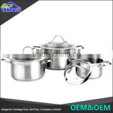 2016 Quality stainless steel cookware pot with satin polished non-stick coating cast iron cookware set