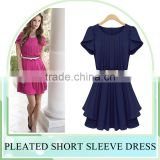 Wholesales Western Style girls' Pleated Casual Chiffon Dresses, OL Plus size long chiffon dress with zipper design