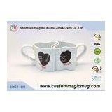 Cute Heart Shape Porcelain Couples Coffee Mugs , Porcelain Personalized Coffee Travel Mugs