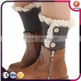 Women's button crochet mixed knitted boots cuff toopers, short leg warmers socks with button
