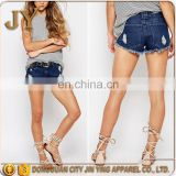 Multifunctional Teal Color Hot Pants Causal Shorts for Lady High-rise Waist Cusomized Garments