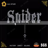 "Bling ""Spider"" letter crystal rhinestone motif for clothing"