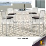 Low price simple style rattan patio bar furniture set high top bar tables and chairs                                                                         Quality Choice