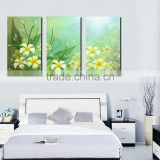 Simple and Beautiful Grenn Modern 3 Panels Flower Oil Painting Canvas for Living Room Decoration
