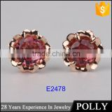 Fashion rose gold plated beatiful flower red zircon 925 silver stud earring jewellery
