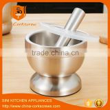 Stainless steel garlic pugging pot garlic pounder crusher mortar and pestle pedestal bowl