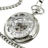 WP124 New Mens Silvered Case White Mechanical Pocket Watch with Chain Custom Pocket Watch