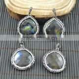 LFD-008P ~ Druzy Faceted Labradorite Pave Crystal Rhinestone Pendant Drop Shape Charms Jewelry For Making Necklace Pendants
