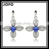 2016 Blue Color Fancy Design New Charm Fashion Crystal Rhinestone Leaf Flower Dangle Earrings