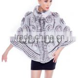 QD80162 Fashion Girl Dresses Knitted Rex Rabbit Fur Poncho with Flower Fashion Dresses For Woman From China Supplier