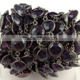 1 Feet Amethyst Hydro Black Wire 12mm Round Briolette Cut Chain Jewelry Making Loose Gemstone Connector