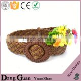 2016 hot sale oem supplier woven waist belts fabric embroidery flat belt the golf needlepoint cowhide leather strap