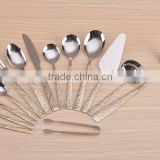 cutlery set stainless steel 84pcs with mirror polishing , sand blasting and gold painting