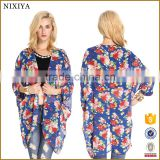 Floral Print Batwing Sleeve Cardigan Fashion Blouse Designs 2015