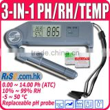 Humidity Temperature Thermometer Hygrometer Replaceable Probe 0~14 3-in-1 Tester pH Meter