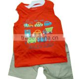 orange sleeveless boys sets cartoon car T-shirt +casual pant kids clothes