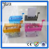 New design strip cut mini manual shredder,cross cut office paper manual shredder,mini hand held manual shredder