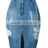 new models Women's Washed High Waist Ripped Hole Denim Skirt jeans skirts