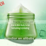 Mendior fresh Lime & Mint extract Refreshing exfoliating skin whitening body scrub custom brand