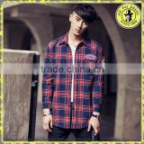 Japanese men's fashion casual loose plaid shirt brushed cotton shirt fancy design men shirt