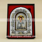 Greek & Russian Orthodox Big Wooden Icon. Christ Pantocrator. Silver edging
