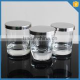Empty clear Custom wedding gift cup shaped decorative crystal glass candle cup with stainless steel lid