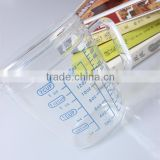500ml china latest design borosilicate/pyrex glass measuring cup with lid/cover decaling three kind of scale