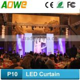 P10/P12/P16 Led dj club light curtain display screen/stage used led curtain display video screen/Rental led curtain