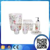 Wholesale hotel beautiful white transparent garden flower resin bathroom accessories sets