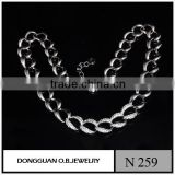 Fashion lusted pave crystal rhinstones chain link necklace