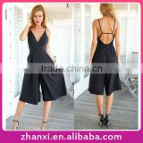 Chiffon Black Backless Jumpsuits Straps Wide Leg Pants Wholesale Women Bodysuits Ladies Sexy