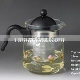 Wholesale Straight Glass flower Tea Pot/teapot with Stainless Steel strainer screen (borosilicate with PV Handle)