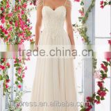 2016 New Arrival Sweetheart A-Line Chiffon Weeding Dress With Beading Spaghetti Straps Sexy Deep V-Back Bridal Gown ML044