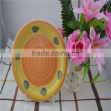 orange color stoneware plate,high quality hand painted ceramic plate,popular ceramic plate