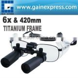 Keplerian Prism Style 6.0x 6x Magnification Binocular Dental Loupes Surgical Medical Dentistry Titanium Frame 420mm