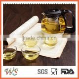 heat resistant glass tea pot with filter glass tea kettle