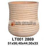 Cylinder High Quality Streaky Sandy Terracotta Planter