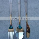 410 stainless steel Partial gold plated flatware,service for 3 birthday and promotional gift flatware wholesale
