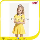 2016 primary beautiful school uniform design patterns polo dress for baby girl