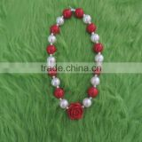 Baby Girl Red Pearl Rose Necklace Children Christmas Necklace