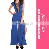 Summer Casual Blue Long Dress Fashion Mesh Cut Out Side Slits Jumper Sexy Jumpsuits Outfit
