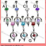 New arrive !! Belly button ring with elegant pendant navel ring body piercing jewelry rings