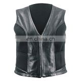 HMB-3351A LEATHER VEST ZIPPER STYLE WAISTCOAT BLACK VESTS