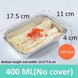 100 Pack Thicken Aluminum Foil Pans (No Cover), Rectangular Aluminum Foil Grill Box,Environmentally Friendly Disposable Lunch Box (400 ML)