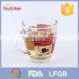 Wholesale 400ml clear glass mug cup with handle better than tooth mug/beer mug